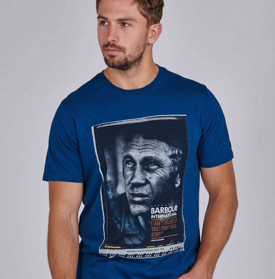 Tee shirt hero steve mcqueen barbour dark petrol 920x933
